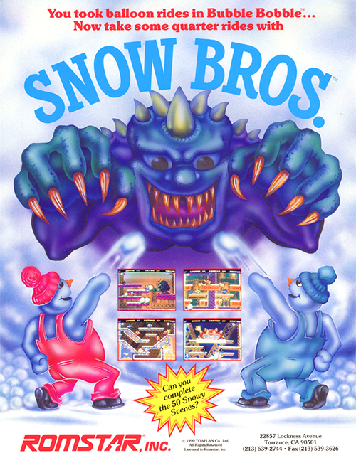 Snow Bros. — 1990 at Barcade® in Jersey City, NJ | arcade video game flyer graphic