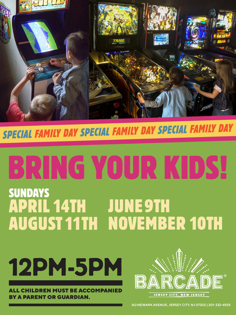 Barcade® Family Day — November 10th, 2019 12PM to 5PM in Jersey City, NJ