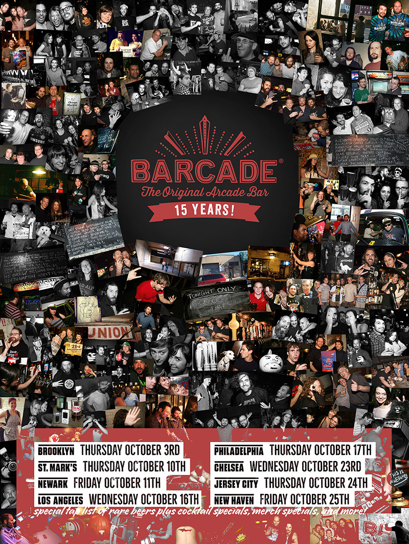 Barcade 15th Anniversary Celebration — October 24, 2019 at Barcade® in Jersey City, New Jersey | poster