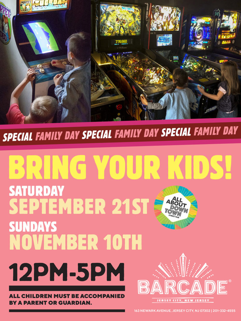 Barcade® Family Day — November 10th, 2019 from 12PM to 5PM in Jersey City, NJ
