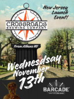 Crossroads Brewing Company Night — November 13, 2019 at Barcade® in Jersey City, New Jersey | poster