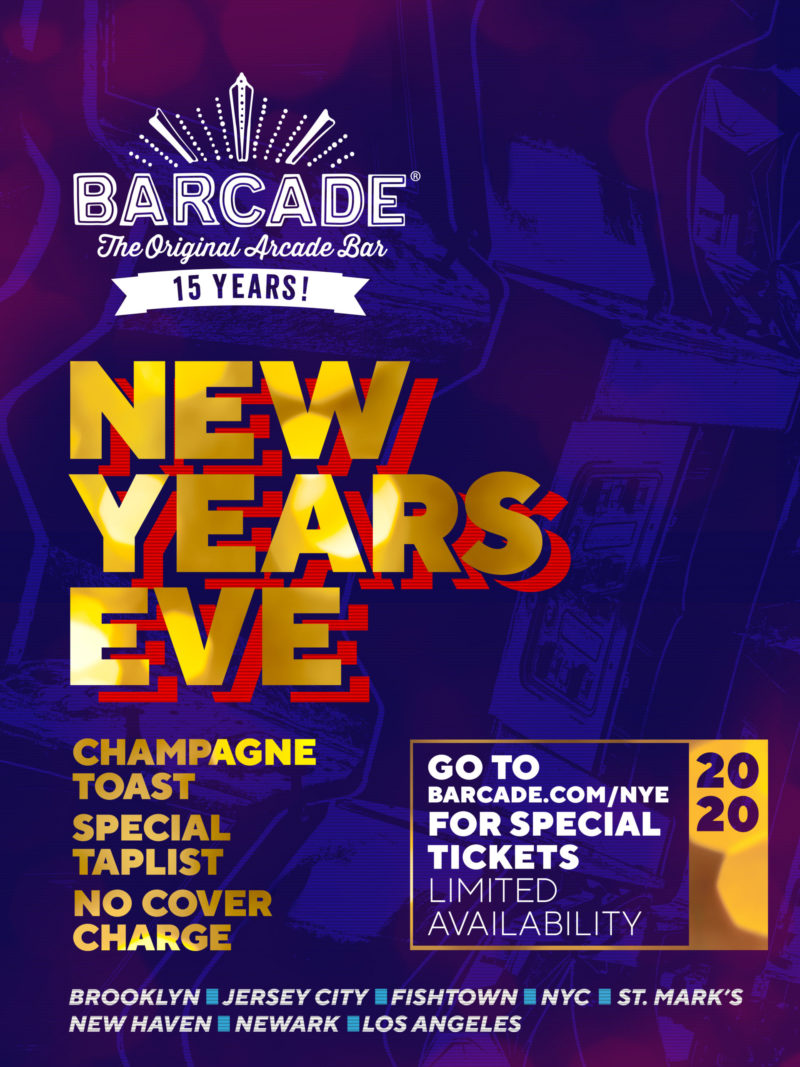 New Years Eve at Barcade on Tuesday, December 31st 2019 in Jersey City, NJ