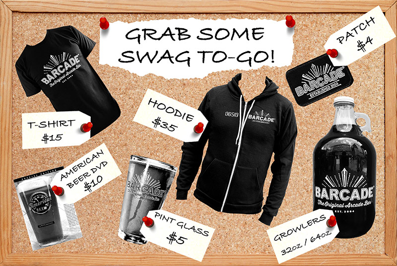"Barcade® Merch to purchase ""swag to-go"" merch graphic"