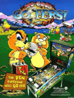 No Good Gofers (pinball) — 1997 at Barcade® at Jersey City, NJ   arcade video game flyer graphic